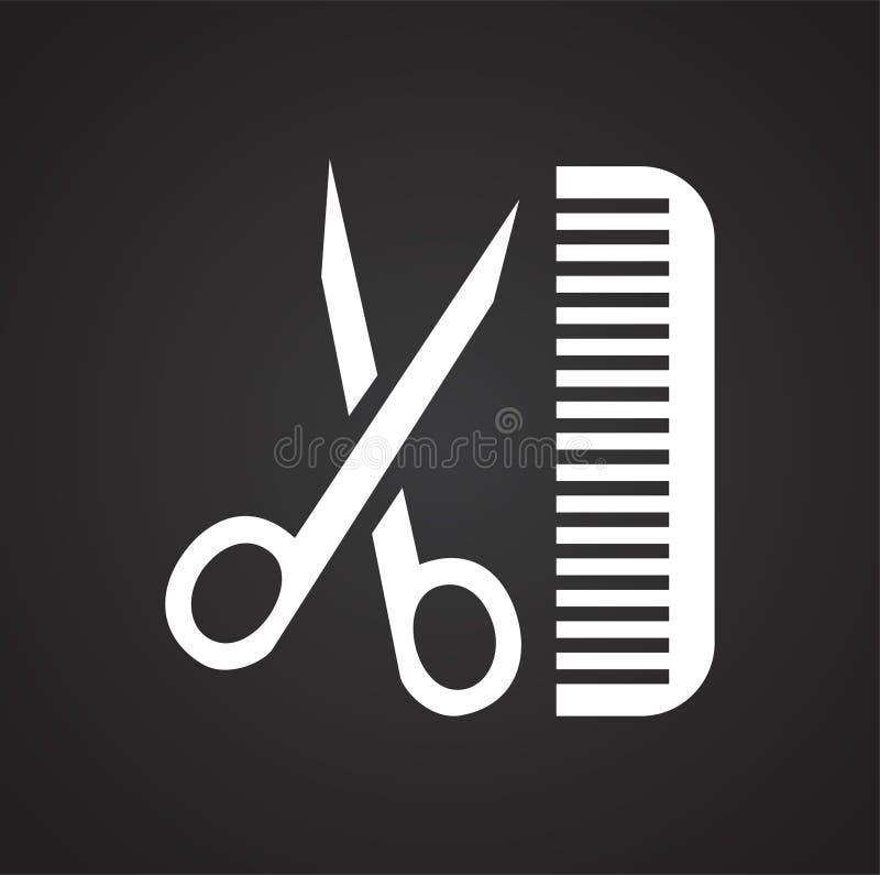 Tesouras do corte de cabelo do animal de estimação e para pentear o ícone no fundo preto para o gráfico e o design web, sinal sim ilustração royalty free