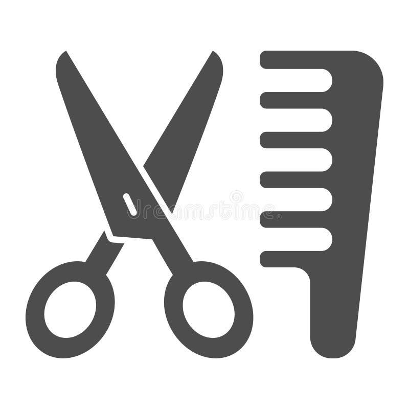 Tesouras e ícone contínuo do pente Ilustração do vetor do cabeleireiro isolada no branco Projeto do estilo do glyph do corte de c ilustração royalty free