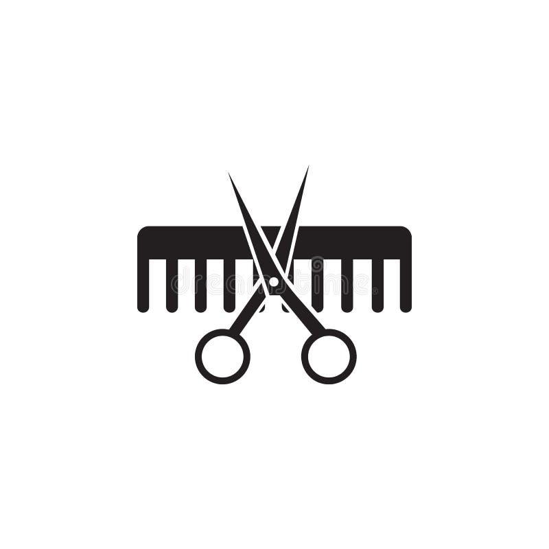 Tesouras e ícone do pente Elemento do ícone do bar da beleza para apps móveis do conceito e da Web As tesouras e o ícone detalhad ilustração royalty free
