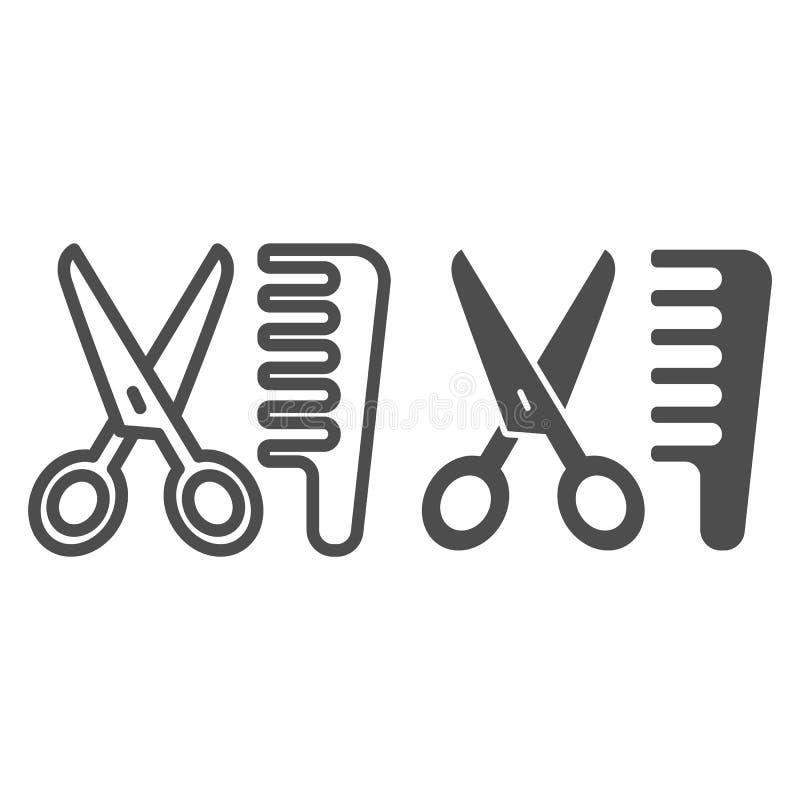 Tesouras e linha do pente e ícone do glyph Ilustração do vetor do cabeleireiro isolada no branco Projeto do estilo do esboço do c ilustração do vetor