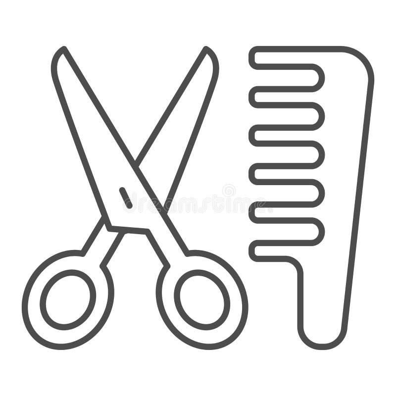 Tesouras e linha fina ícone do pente Ilustração do vetor do cabeleireiro isolada no branco Projeto do estilo do esboço do corte d ilustração do vetor