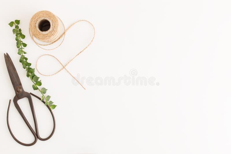 Tesouras e ramos rústicos colocados lisos da foto e para despedir a corda no fundo branco, na vista superior e no espaço da cópia fotografia de stock royalty free