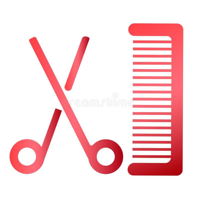 Tesouras e vetor EPS10 do pente do cabelo ilustração royalty free