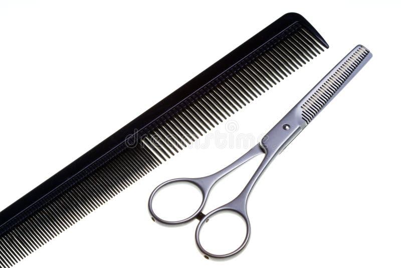 Tesouras especiais para o trabalho do cabeleireiro foto de stock