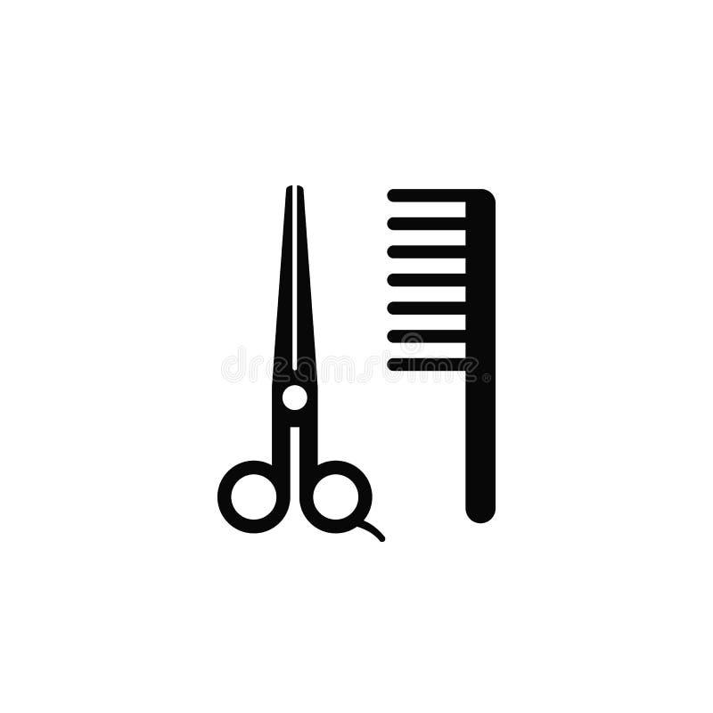 Tesouras, pente, barbeiro, ícone Elemento do ícone simples para Web site, design web, app móvel, infographics Linha grossa ícone  ilustração do vetor