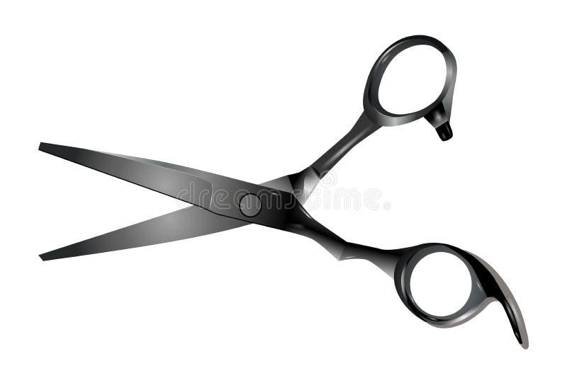 Tesouras profissionais do cabeleireiro isoladas no fundo branco ilustração do vetor