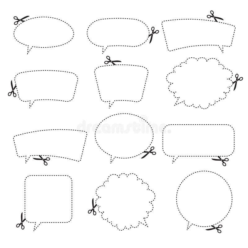 Tesouras que cortam bolhas do discurso. ilustração royalty free