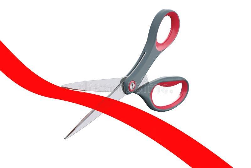 Tesouras que cortam a fita vermelha rendição 3d ilustração stock