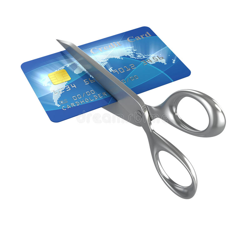 Tesouras que cortam o cartão de crédito ilustração do vetor