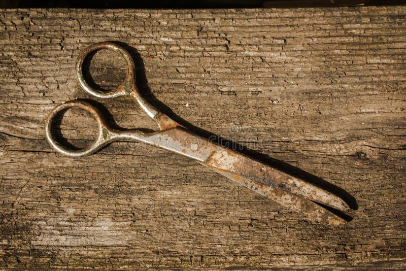 Tesouras retros do vintage no fundo de madeira foto de stock royalty free
