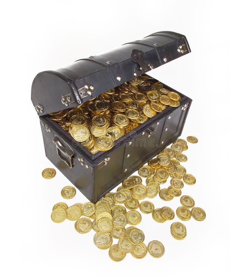TESOURO DAS MOEDAS DE OURO DA CAIXA DO DINHEIRO fotos de stock royalty free
