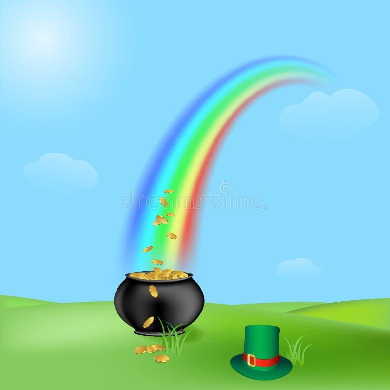 Download Tesouro e arco-íris ilustração do vetor. Ilustração de verde - 12803539