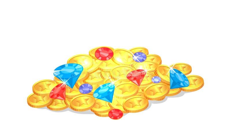 Tesouro precioso brilhante antigo com as gemas no montão ilustração do vetor