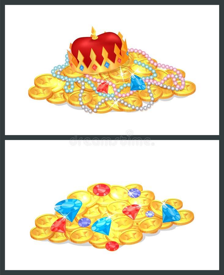 Tesouros reais antigos do ouro nos montões grandes ajustados ilustração royalty free
