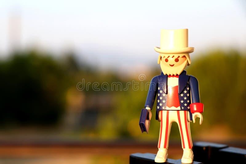 Tessalónica, Grécia - 2 de setembro de 2018: Figura do playmobil do patriota do tio Sam imagem de stock royalty free