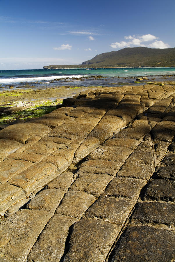 Tessellated Rocks. Remarkable tessellated pavement at the northern end of Pirates Bay on Tasmania's Tasman Peninsula stock photography