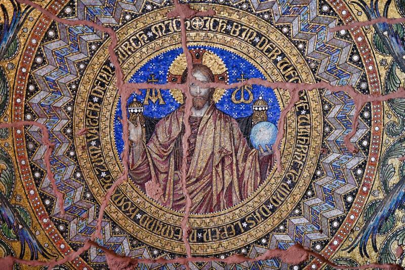 Tessera del mosaico en el Kaiser Wilhelm Memorial Church foto de archivo libre de regalías