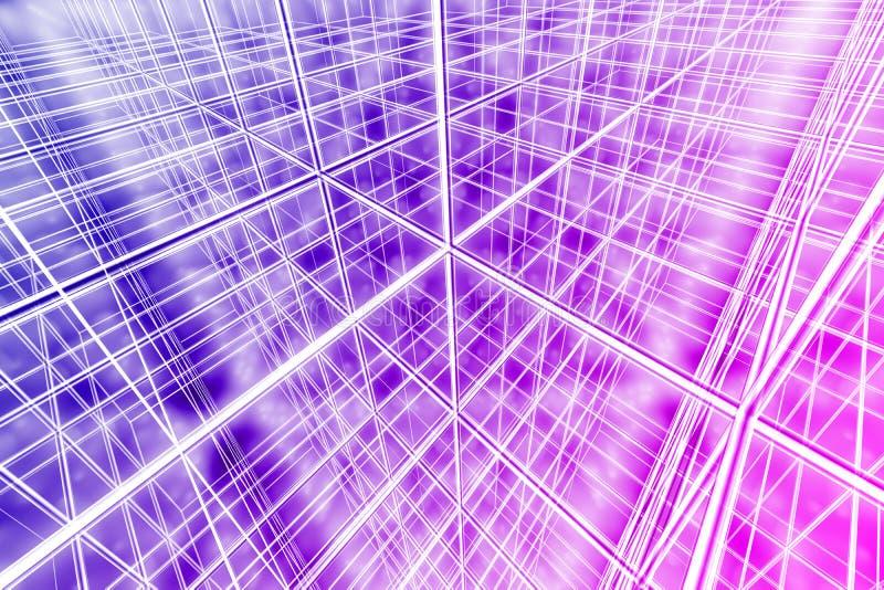 Tesseract achtergrond abstract veelkleurig netwerk cyber Web royalty-vrije stock foto's