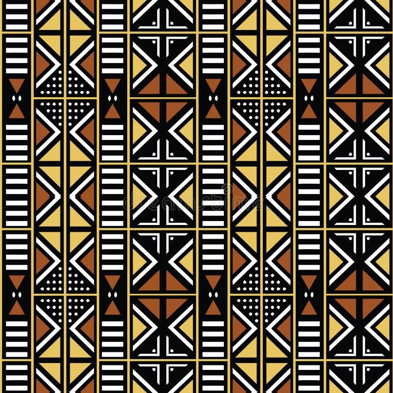 Tessuto africano della stampa, elementi geometrici bologan etnici di progettazione, di motivi etnici e tribali Struttura di vetto illustrazione vettoriale