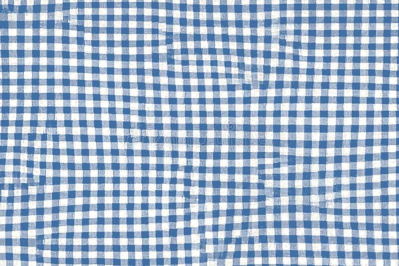 Tessuto blu della coperta di picnic con i modelli e la struttura quadrati fotografia stock libera da diritti