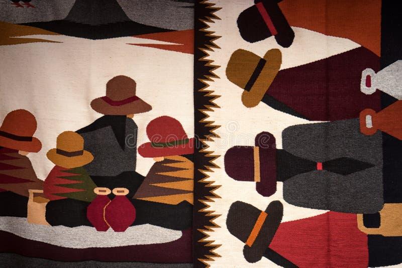 Tessuto decorativo fatto a mano dell'artigiano nell'Ecuador immagini stock