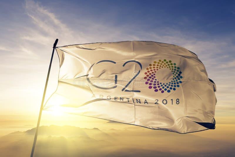 Tessuto 2018 del panno del tessuto della bandiera di G20 Argentina che ondeggia sulla nebbia superiore della foschia di alba fotografia stock