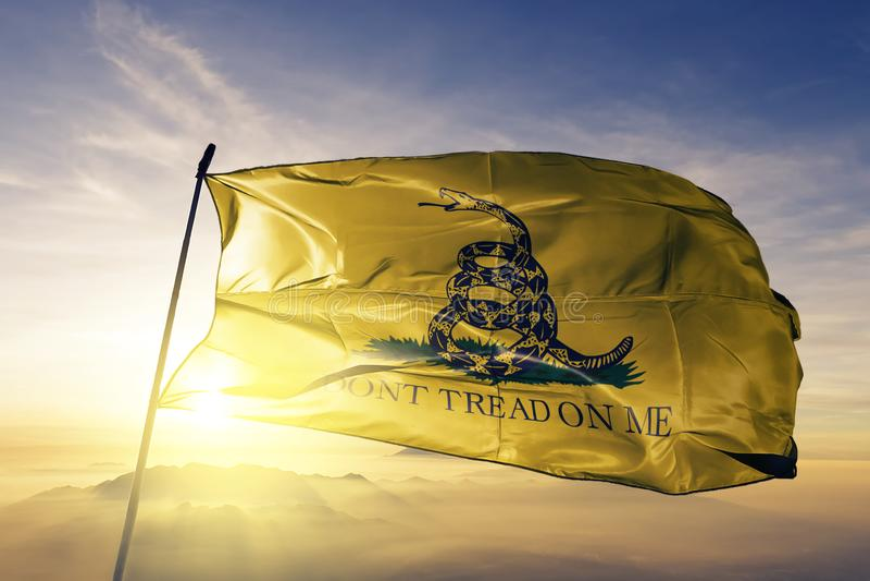 Tessuto del panno del tessuto della bandiera di Gadsden che ondeggia sulla nebbia superiore della foschia di alba illustrazione vettoriale