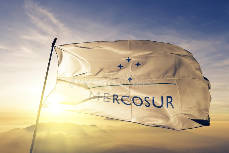 Tessuto del panno del tessuto della bandiera di Mercado Comun del Sur di Mercosur che ondeggia sulla nebbia superiore della fosch fotografia stock libera da diritti