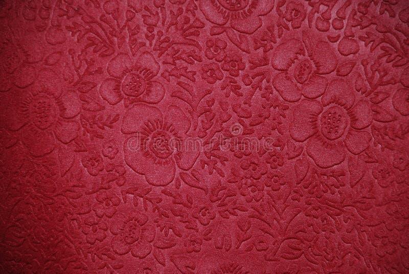 Tessuto della ciliegia con i disegni floreali fotografia stock libera da diritti