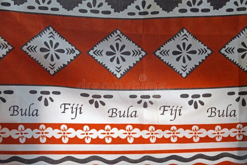 Tessuto della stampa del Fijian con le Figi di Bula fotografia stock