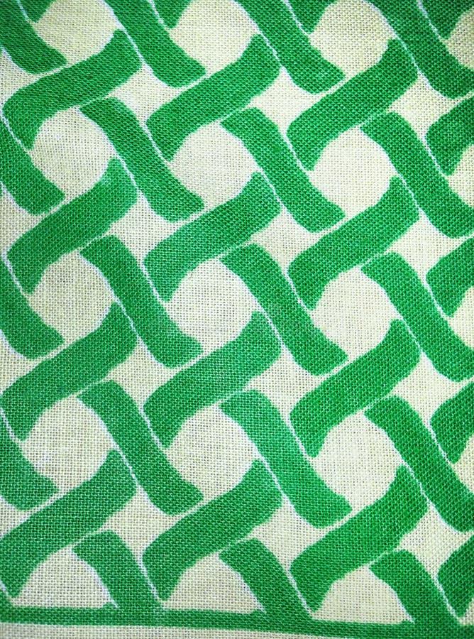 Tessuto Di Cotone Tessuto In Verde E Nel Bianco Immagine Stock