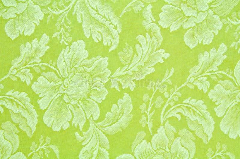 Tessuto floreale verde del reticolo   fotografia stock