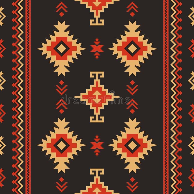 Tessuto indigeno Kilim di progettazione geometrica Reticolo senza giunte etnico illustrazione di stock