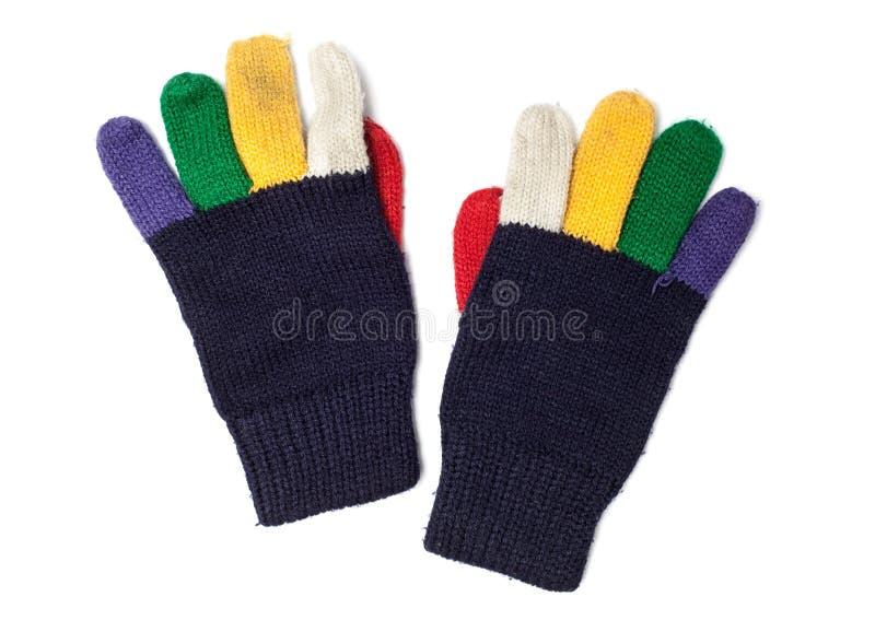 Tessuto - serie del tessuto - guanti della mano tricottati lana fotografia stock libera da diritti