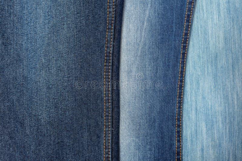 Tessuto - serie del tessuto: Tre tonalità dei jeans fotografia stock libera da diritti