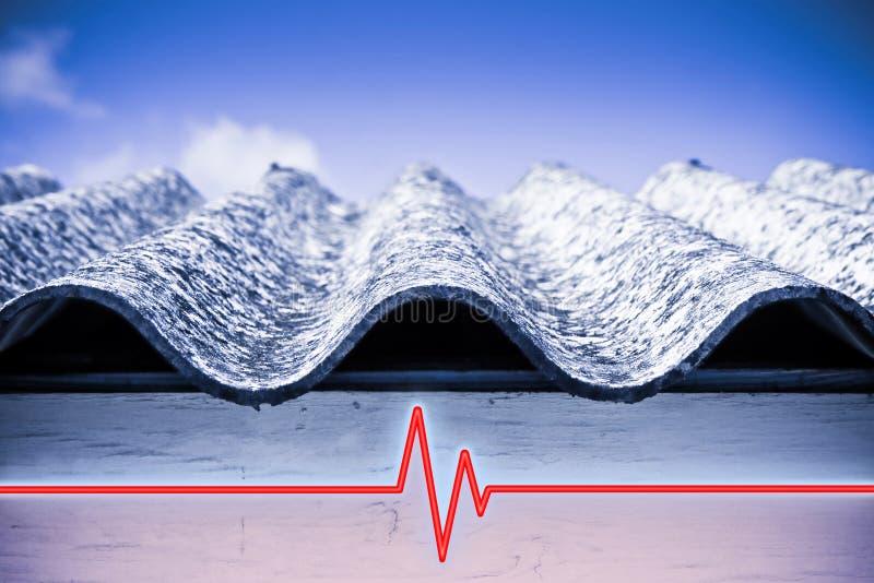 Test aangaande de aanwezigheid van asbest in de bouwmaterialen van gebouwen - conceptenbeeld met controlegrafiek over asbest stock afbeelding