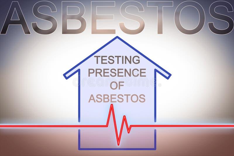 Test aangaande de aanwezigheid van asbest in de bouwmaterialen van onze huizen - conceptenbeeld met controlegrafiek over asbest royalty-vrije stock foto