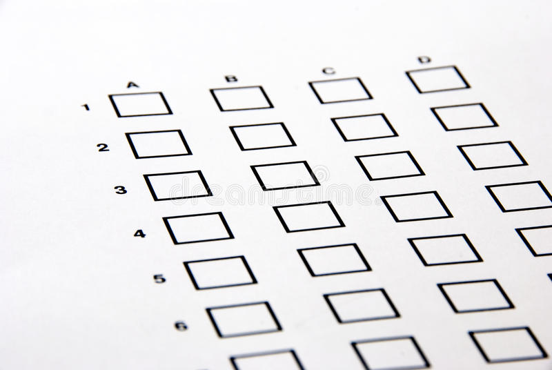 Download Test - the answer sheet stock image. Image of fill, cross - 14186617