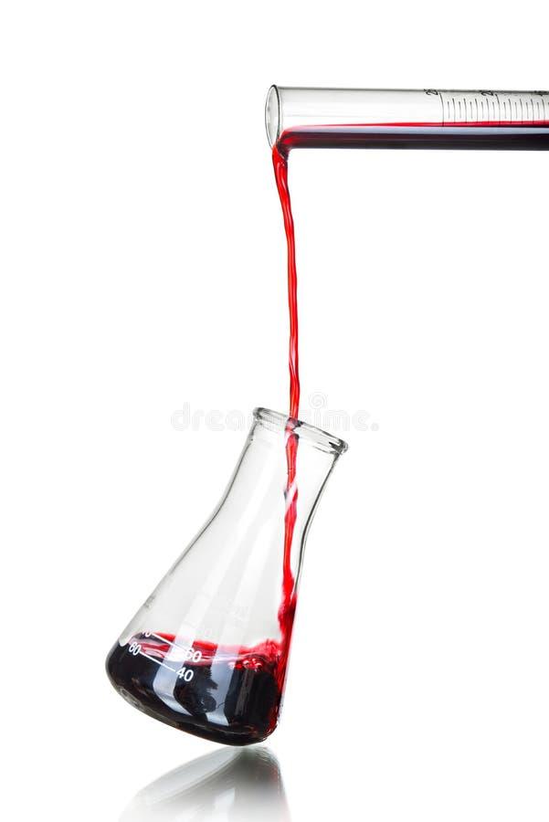 Test-buis met rode vloeistof stock foto's