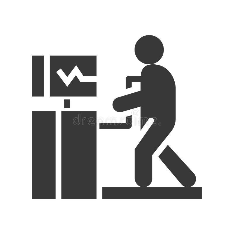 Test de tension cardiaque, soins de santé et icône solide relative médicale illustration de vecteur