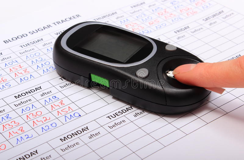 Test for determination level sugar and medical form stock images