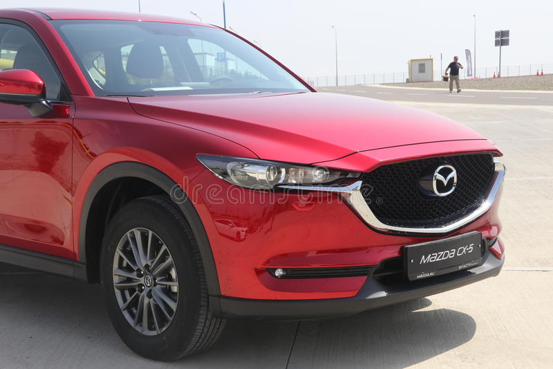 Test-drive of second generation restyled Mazda CX-5 crossover SUV. Baku, Azerbaijan - May 27, 2017: sneak preview and test-drive of second generation restyled stock photo