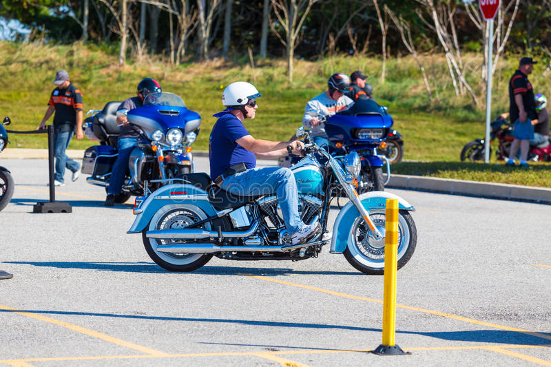 Test Driving At Harley-Davidson Factory Open House Editorial Photo