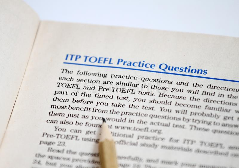 Test of English as a Foreign Language, TOEFL Test sheets. TOEFL exam. TOEFL practice questions. Learning English. English as a sec. Ond language. Student and Do stock photo