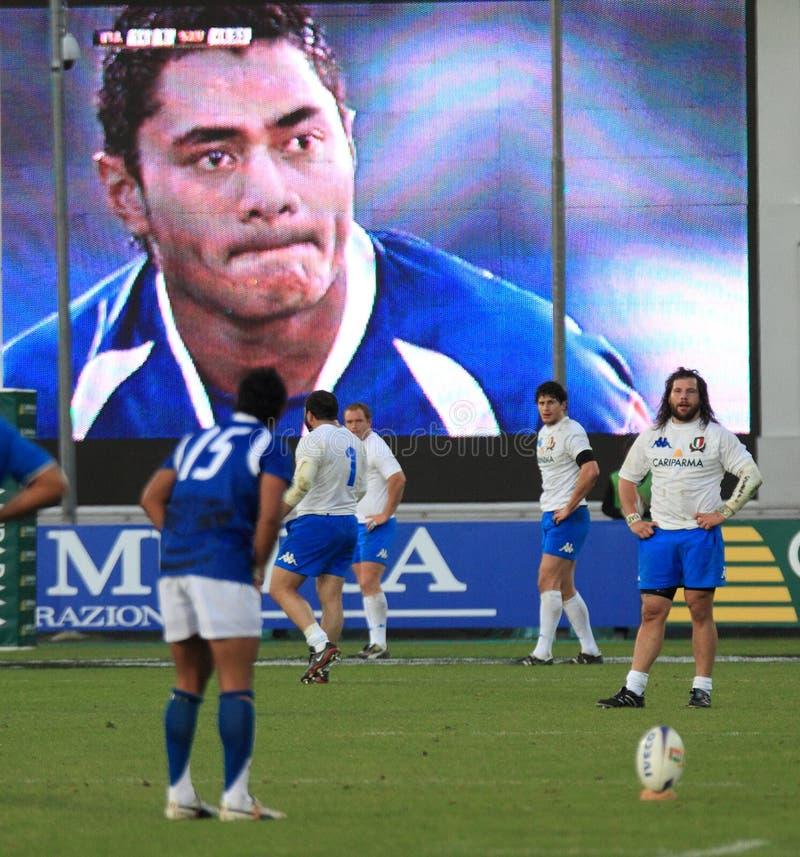 Test match Italia del rugbi contra Samoa; ¹ menor de Esaà del tipi fotos de archivo
