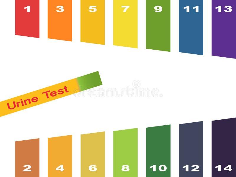 Test moczu Ręka trzyma próbnej tubki z pH wskaźnikiem porównuje kolor i lakmus ważyć obdziera dla pomiaru kwaśność royalty ilustracja