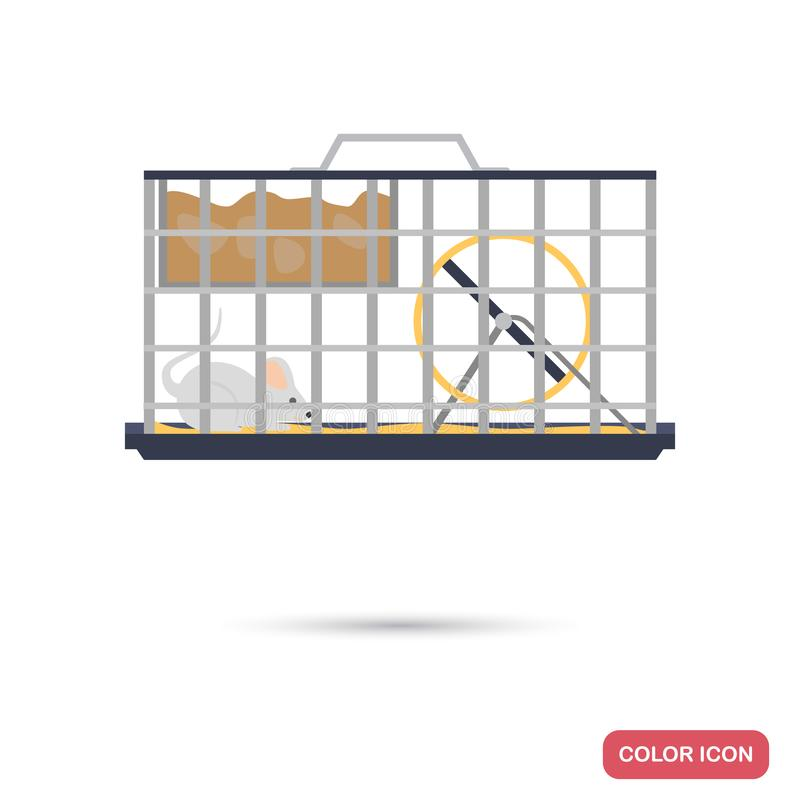 Test mouse in a cage color flat icon. For web and mobile royalty free illustration