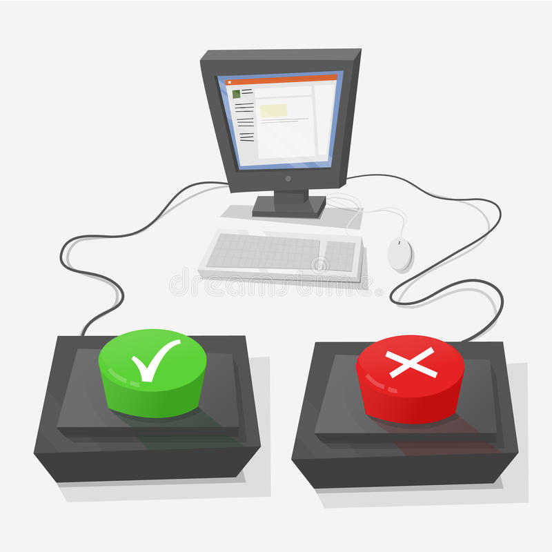 Test online. Personal computer with two buttons in front to answer true or false. True is green, and red false vector illustration