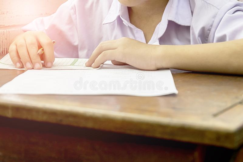 Students by taking exams royalty free stock photo