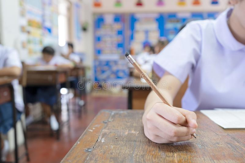 Test the potential of students by taking exams concept stock image